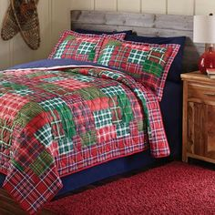 mainstays holiday plaid printed bedding quilt set green