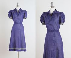 Button Blues . vintage 1940s dress . vintage by millstreetvintage