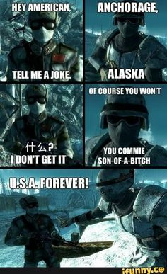 Operation Anchorage was Fallout best add-on Fallout 4 Funny, Fallout Comics, Fallout Fan Art, Fallout New Vegas, Video Game Memes, Video Games Funny, Funny Games, Gamer Humor, Gaming Memes