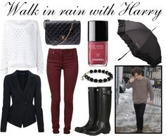 """""""Walk in rain with Harry"""" by one-direction-still-perfection ❤ liked on Polyvore"""