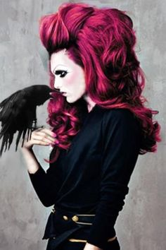 hair colors, pink hair, and red hair gothic