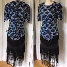 4b309e36d9a88 1980s does 20s Top Dress Flapper Gatsby Fringe Sequin Beaded Silk Laurence  Kazar Halloween 1920s costume