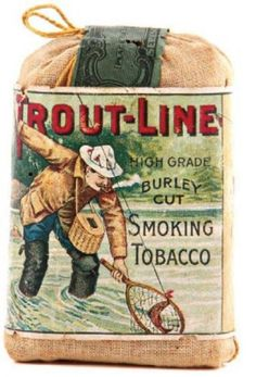 Trout-Line Tobacco Sample Pouch Funny Vintage Ads, Vintage Tins, Vintage Advertisements, Buy Cigars, Good Cigars, Tobacco Basket Decor, Camping Images, Wooden Cigar Boxes, Clay Pipes
