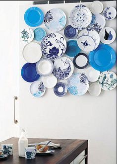 awesome decorative white blue plates design