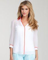 bebe Convertible Contrast Button Down Blouse