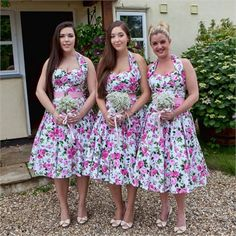 Rosa chose to have three bridesmaids - her best friend Esta, and her two cousins Ruby and Nina.The bride wanted to create a real 1950s theme to her wedding day, and therefore decided that her bridesmaids would wear something perfectly fitting with the era.The three bridesmaids dresses came from a fantastic store in London called Vivienne of Holloway. The chosen dresses were bright pink with pale flowers and green stems, featuring structured halterneck necklines and a pink 50s style belt…
