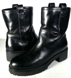 $425 TORY BURCH Boots 7.5 Black Leather Motocycle Boots Ankle Boots *PRIMO* 7.5 #ToryBurch #Motorcycle #Casual