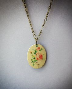 Antique roses pendant, recycled vintage tin jewelry, tin necklace, upcycled recycled repurposed, brass, metal by CellarDoorShoppe on Etsy