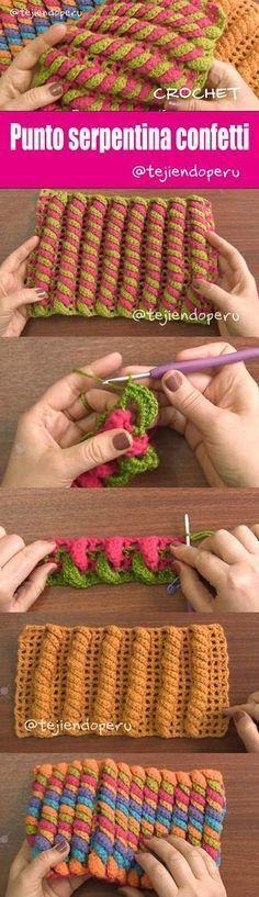 Punto SERPENTINA CONFETTI tejido a crochet :) ¡Paso a paso con video tutorial!