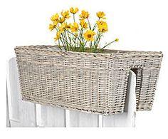 Jardinera de balcón en ratán, natural - grande