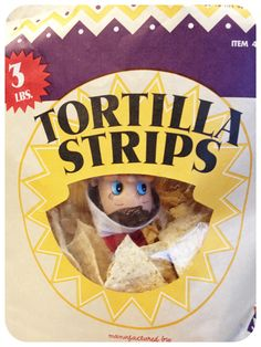Elf on the Shelf likes chips.  He was caught trying to eat all of them and he did not want to share....
