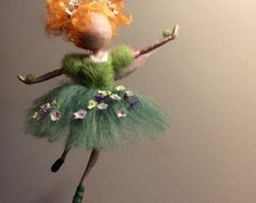 Needle felted Fairy Waldorf inspired Wool Fairy in blue dress