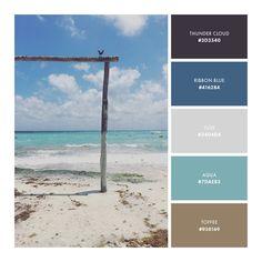 color palette, blue, tan, gray, beach, ocean