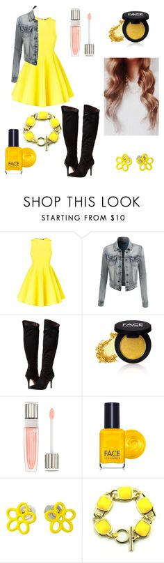 """""""⚪ Yellow ⚪"""" by cottoncandyprince ❤ liked on Polyvore featuring AQ/AQ, LE3NO, Report, FACE Stockholm, Lancôme, Marc by Marc Jacobs, yellow, Jeanjacket, lipgloss and yellowdress"""