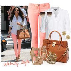 love eva longoria! cute pink pants
