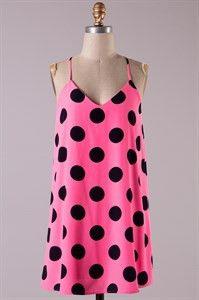 Hot Polka Dot Top- Neon Pink