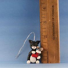 OOAK~Black Cat~Mouse~CHRISTMAS ORNAMENT~Sculpture~Artist Doll~Cheryl Brown