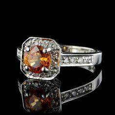 14K White Gold Spessartite Garnet and Diamond Ring