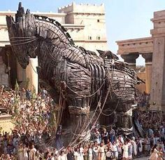 The Trojan Horse. This was Athena's tribute to the Trojan War. She made the Trojan people think that if they let in the horse they would win the war. But the Greek army was waiting inside the horse to attack.