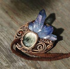 FREE SHIPPING Tanzan Aura Pendant Tanzan Cluster Rutilated Quartz Necklace Healing Feminine Jewellery Hippie Crystal Healing Pendant Aqua