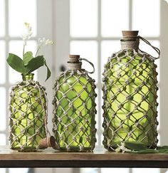 Knotted Jute Demijohns–with Bling!
