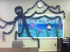 Dive into Books! octopus and under the sea theme for a library bulletin board Preschool Bulletin, Classroom Bulletin Boards, Classroom Door, Classroom Themes, Ocean Bulletin Boards, Ocean Themed Classroom, School Displays, Library Displays, Classroom Displays