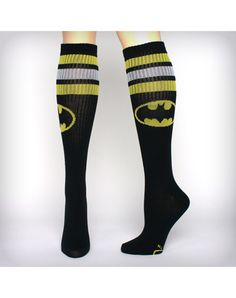 Batman Athletic Stripe Knee High Socks my baby brother Jordan would go crazy for theses and anything for batman Striped Knee High Socks, Thigh High Socks, Thigh Highs, Knee Highs, Batman Baby Clothes, Knee Socks Outfits, Batman Socks, Nananana Batman, Cute Tights