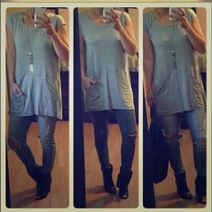 Grey pocket tunic I love this top. Cute casual piece. Looks great with Leggings and sandals or over jeans. Nice and spring light. Pockets in front. Modeling med. med for Cheryl Tops