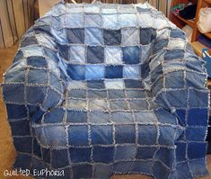 Good recycling project for jeans...make a rag quilt!