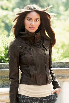 Brown Leather Funnel Neck Jacket