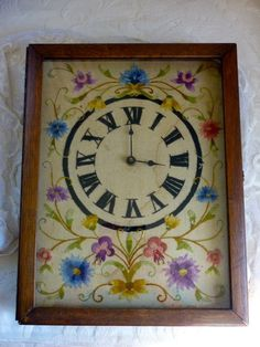 Vintage Embroidered Needlepoint Clock In An Awesome Wooden Case    Etsy