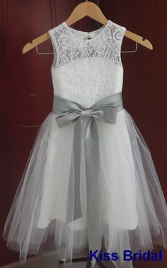 Lovely flower girl dress with gray satin sash (Please marked the color numer for the dress and the dress)
