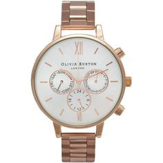 Olivia Burton Chrono Dial Silver Detail Bracelet Watch - Rose Gold (706.230 COP) ❤ liked on Polyvore featuring jewelry, watches, rose gold, olivia burton, red gold jewelry, rose gold wrist watch, pink gold jewelry and chronograph watches