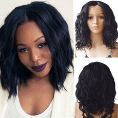 US Women Brazilian Straight 100% Human Hair Full Wig Front Lace Wig Baby Hair BT