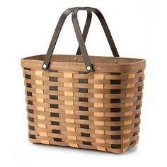 Longaberger Khaki Check Magazine Basket  **NEW**