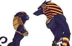 Bastet and Anubis [Ancient Egypt AU] Arte Furry, Furry Art, Egyptian Mythology, Egyptian Art, Egyptian Goddess, Bastet Goddess, Egyptian Costume, Egyptian Jewelry, Fantasy Creatures