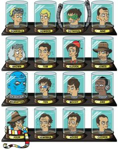 Doctorama: Doctors' Heads in Futurama Head Jars. Where's Dr. Forrester?