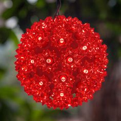 Red starlight sphere featuring red LED mini lights. Perfect mix and match with white lights for candy cane Christmas themes!