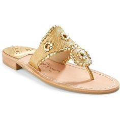Jack Rogers Jacks Raffia Thong Sandals ($118) ❤ liked on Polyvore featuring shoes, sandals, woven shoes, jack rogers, jack rogers sandals, raffia sandals and metallic shoes