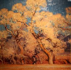 The Cottonwoods painting by E. Martin Hennings at Taos Art Museum. Taos, NM.