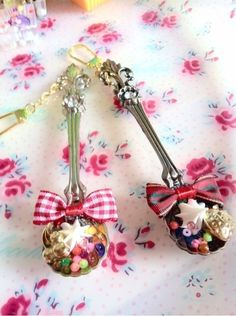 Decorated spoons.