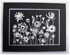 lovely handmade card in black and white ... silouetted flowers in white embossing on black ... Hero Arts ...