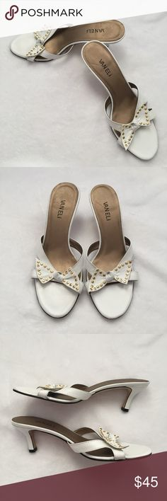 """VANELi White Bow Tie Sandals With Gold Studs Previously loved - super cute sandals! The white bow tie is absolutely adorable!! Heel height is 2.5"""". The low height makes means these sandals are comfortable! Vaneli Shoes Sandals"""
