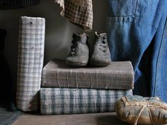 Cloth covered books and early childs shoes