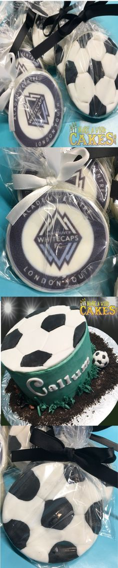 ⚽️ This is one lucky boy! 🎉 A chocolate peanutbutter soccer birthday cake. And.. soccer cookies to hand out to his team mates with their logo too!
