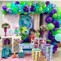Monster Inc Birthday, Monster Inc Party, First Birthday Party Themes, 2nd Birthday, Monsters Inc Boo, Balloon Decorations, First Birthdays, Balloons, Baby Shower