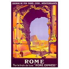Rome, French Railway Travel on the Rome Express, V Poster