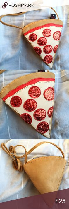 Sequin Pepperoni Pizza Slice Crossbody Bag Brand new with tags. This Sequin Pepperoni Pizza Slice Crossbody Bag adds the perfect amount of cute and quirky to your outfit. This purse is inspired by the Betsey Johnson Pizza Clutch. The sequin pepperoni adds a little shimmer! Straps are not removable and not adjustable. Zipper closure, red lining inside. Large enough to fit your cell phone, small wallet and keys. I also have a Taco and French Fries Crossbody bag also available in my closet…