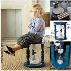 Manualidades reciclaje niños.Esta manualidad para los niños para hacer taburete nos ofrece una doble utilidad,te servirá para sentarse y cómo reloj de arena