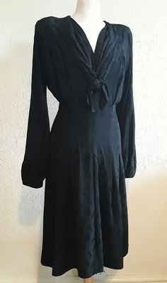 485c7d4165 CC41 dress vintage cc41 utility black 1940s crepe dress